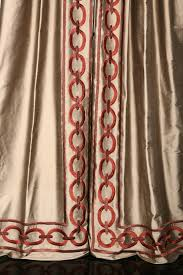 embroidery chain link design on leading edge of drapery window