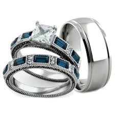 stainless steel wedding ring sets st1829 rm2462 stainless steel antique brush metal his 3pc