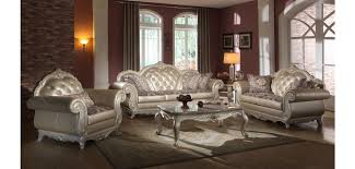 Traditional Furniture Styles Living Room Pearl Color Leather Traditional Living Room Set 652