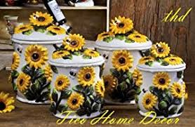sunflower kitchen canisters amazon com sunflower kitchen canisters 4 pc canisters sunflower