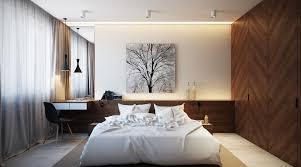 bedroom wood paneled bedroom features modern platform bed with