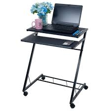 Space Saving Laptop Desk Lavish Home Black Laptop Desk With Wheels 80 Ct10080 The Home Depot