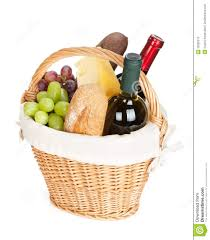 wine picnic baskets picnic basket with bread cheese grape and wine bottles royalty