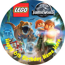 jurassic park cake topper jurassic park lego edible icing cake toppers personalise for your