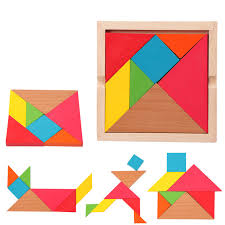 large wooden pieces 14 14cm tangram intellectual seven pieces large wooden jigsaw
