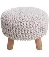 satyam home decor white pouf with wooden legs buy online at best