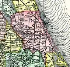 County Map Of Florida by Volusia County 1888