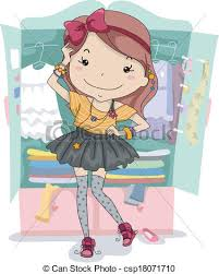 vector clip art of dress up closet illustration of a trying