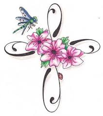 10 best cross and flower tattoos images on pinterest flower