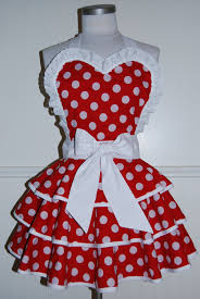 thanksgiving aprons red and white polka dot 3 tier circle skirt valentine pinup