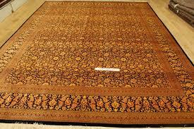 Black Persian Rug Large 13x9 Silk Black Gold Qom Persian Rugs Gorgeous Qum Carpets