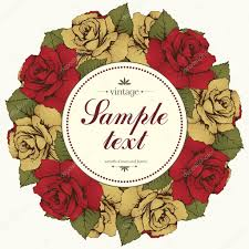 vintage round frame of rose flower flower garland wreath of