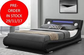 Led Bed Frame Led Light Bluetooth Speaker Leather Bed Frame Abreo Home Furniture