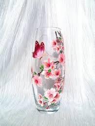 Glass Vase Painting Sakura Glass Vase Hand Painted Vase Hand By Paintedglassbysveti