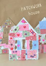 patchwork houses with cardboard and collage supplies all and