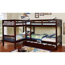 Bunk Beds Trundle Walnut Bunk Bed With Trundle