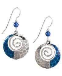 silver forest earrings silver forest earrings silver tone blue hammered loop drop