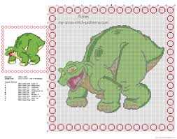 cross stitch children baby pillow with spike dinosaur from the