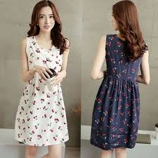 cool maternity clothes summer cherry printing sleeveless cotton maternity dresses