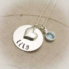 Personalized Sterling Silver Necklace Sweet U0026 Simple Heart Necklace For Girls Or Teens Hand Stamped