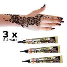 100 vegan 6er set henna tattoo farbe 3x schwarz und 3x rot