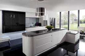 stunning black modern kitchen cabinets with bay window lessinges