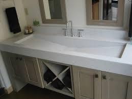 Vanity Plus Small Bathroom With Khaki Wooden Bath Vanity Trough Sinks And
