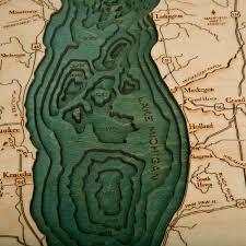 Holland Michigan Map by Lake Michigan Wood Map Sm 3d Nautical Topographic Chart Framed Art