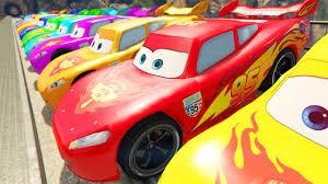 monster trucks lightning mcqueen spiderman colors lightning mcqueen in crash with train spiderman saves