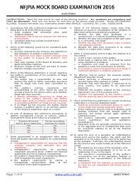 nfjpia mock board 2016 auditing financial audit financial