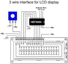 3 wires interface for lcd display using arduino use arduino for