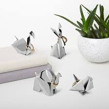 modern animal ring holder images Umbra origami ring holder swan red candy jpg