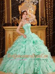 apple green ball gown sweetheart floor length ruffles organza and
