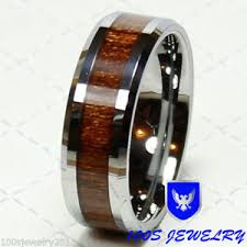 wood inlay wedding band 8mm men s silver tungsten carbide wood inlay comfort fit wedding