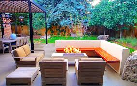 fire pit patio with pure white concrete and cantilevered built in