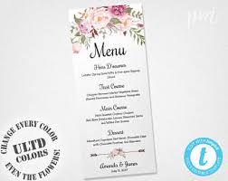 wedding buffet menu cards floral diy template wedding dinner