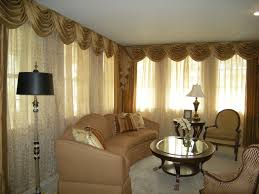 Curtains For A Large Window Curved Drapes Valance Mixed With Brown Curtain And Light Brown