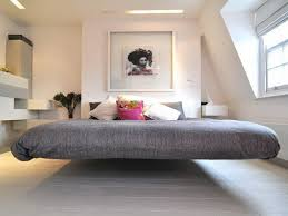 White Laminate Floor Nice Grey Queen Floating Bed Frame Over White Laminate Floor For