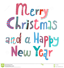 merry and a happy new year lettering stock photo image