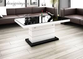 Wohnzimmertisch Platte Design Couchtisch H 333 Schwarz Weiß Hochglanz Höhenverstellbar