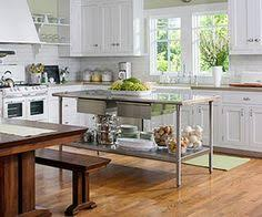 Loft Kitchen Dark Lower Cabinets With Light Grey Upper Cabinets - Kitchen prep table stainless steel