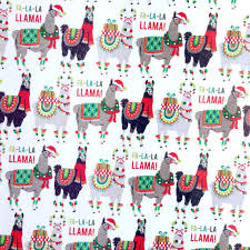 christmas wrap paper llama wrapping paper 1 roll from dandelionpaper on etsy