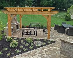 bloc patio pergola and outdoor fireplace