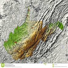 Map Of Wv West Virginia Shaded Relief Map Stock Images Image 5573814