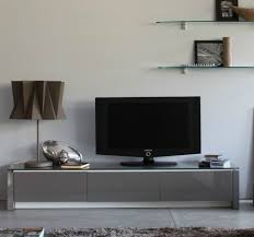 modern mirrored low profile media console with glass top ideas