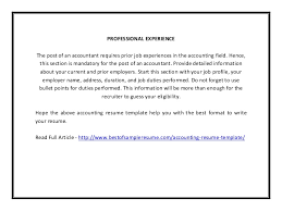 accounting resume template pdf