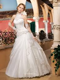 Halter Neck Wedding Dresses Illusion Halter Neck Lace And Satin Sleeveless Ball Gown