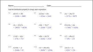 using the distributive property worksheet worksheets