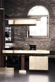 Industrial Kitchen Backsplash by Gray Brick Backsplash And Gloomy Industrial Kitchen And Brass
