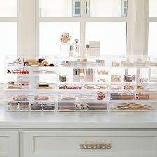 luxe acrylic modular makeup storage the container store roll over to zoom